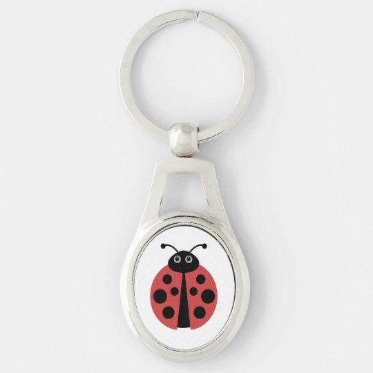 Cute Ladybug Animal Print Silver-Colored Oval Key Ring