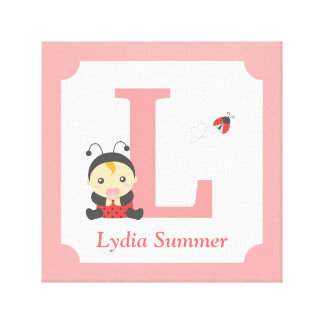 Cute Ladybug Baby Girl Nursery Letter Name Print Stretched Canvas Print