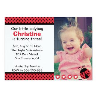 Cute Ladybug birthday party, Turns 3, polka dots 11 Cm X 16 Cm Invitation Card