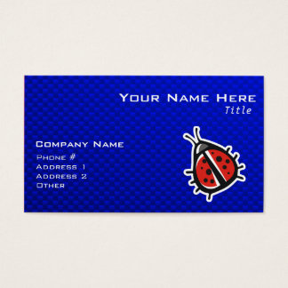 Cute Ladybug; Blue Business Card