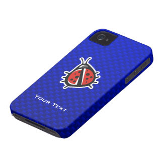 Cute Ladybug; Blue iPhone 4 Cases