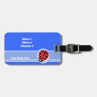 Cute Ladybug Blue Tags For Bags