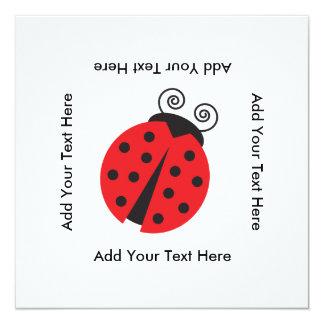 Cute Ladybug Drawing 13 Cm X 13 Cm Square Invitation Card