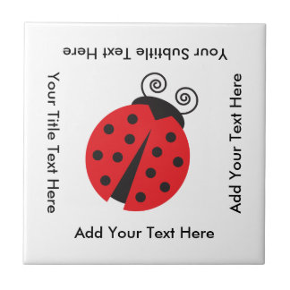 Cute Ladybug Drawing Small Square Tile