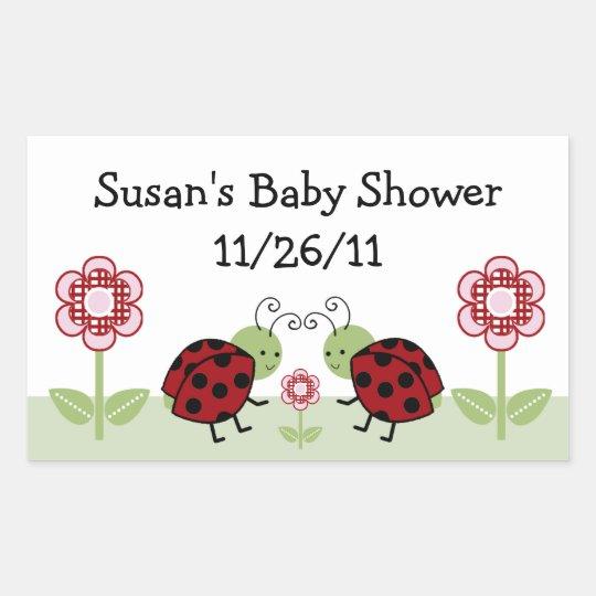 Cute Ladybug & Flowers Stickers/Envelope Seals Rectangular Sticker