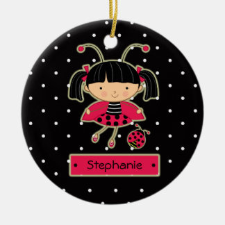 Cute ladybug girl polkadots personalized ornament