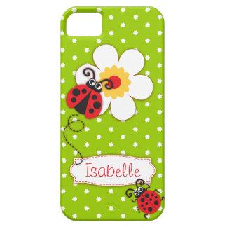 Cute ladybug girls name green red iphone 5 case