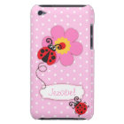 Cute ladybug girls name pink ipod touch case