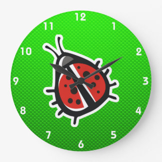 Cute Ladybug; Green Large Clock