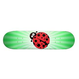 Cute Ladybug; Green Skateboard Deck