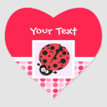 Cute Ladybug Heart Stickers