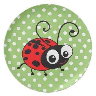 Cute Ladybug Kids plate - green with white spots