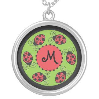 Cute Ladybug Monogram Necklace