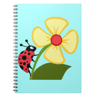 Cute Ladybug on a Yellow Flower Spiral Notebook