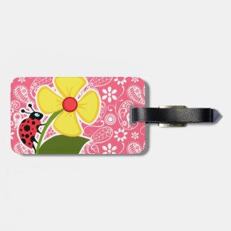 Cute Ladybug on Brink Pink Paisley; Floral Luggage Tag