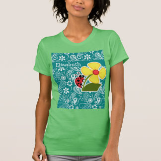Cute Ladybug on Dark Cyan Paisley Tee Shirts
