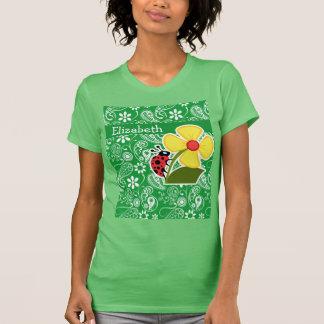 Cute Ladybug on Kelly Green Paisley T-shirts