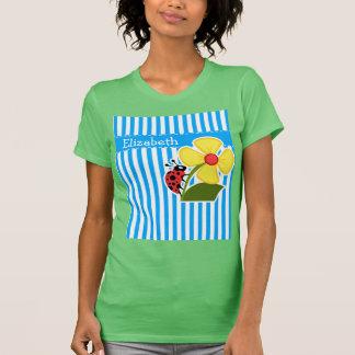 Cute Ladybug on Sky Blue Vertical Stripes Tshirt