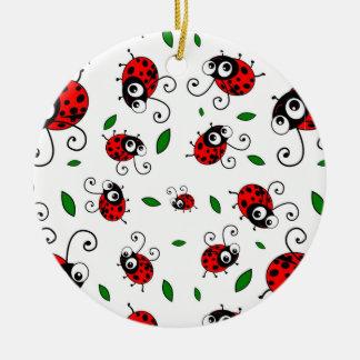 Cute ladybug pattern christmas ornament