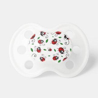 Cute ladybug pattern baby pacifiers