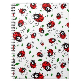 Cute ladybug pattern spiral note book