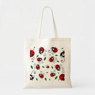 Cute ladybug pattern tote bag