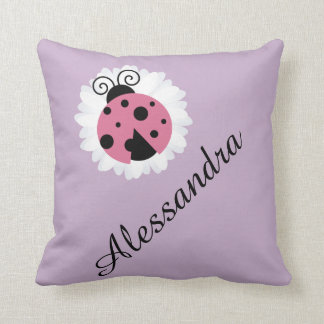 Cute ladybug personalized name nursery kids room cushion