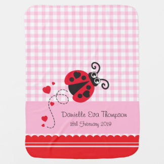 Cute ladybug pink red custom name date blanket pram blanket