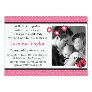 "Cute Ladybug, Polka Dots, Baby Girl Shower 4.5"" X 6.25"" Invitation Card"
