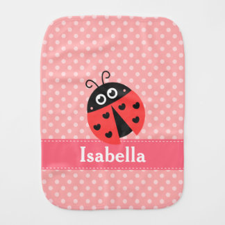 Cute Ladybug, Polka Dots, for Sweet Baby Girls Burp Cloth