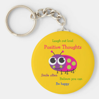 "Cute Ladybug ""Positive Thoughts"" Basic Round Button Key Ring"