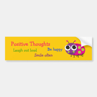 "Cute Ladybug ""Positive Thoughts"" Bumper Stickers"