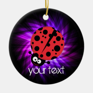 Cute Ladybug; Purple Christmas Ornament