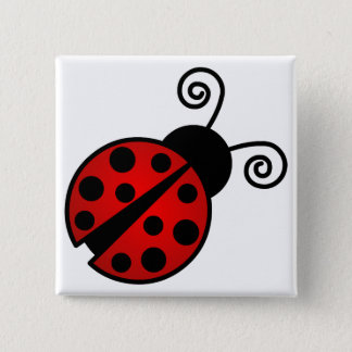 Cute Ladybug - Red and Black 15 Cm Square Badge