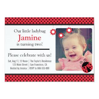 Cute Ladybug, Red and Black Polka Dots birthday 11 Cm X 16 Cm Invitation Card