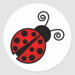 Cute Ladybug - Red and Black Round Sticker