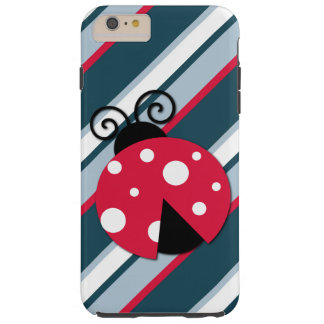 Cute Ladybug Red White Blue Stripes Pattern Tough iPhone 6 Plus Case