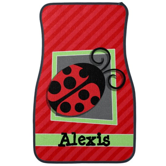 Cute Ladybug; Scarlet Red Stripes Car Mat