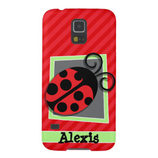 Cute Ladybug; Scarlet Red Stripes Galaxy S5 Cover