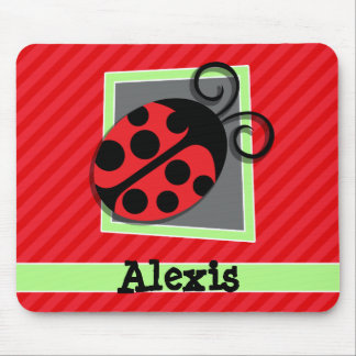 Cute Ladybug; Scarlet Red Stripes Mouse Mat