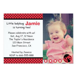 Cute Ladybug, Second Birthday Party, polka dots 11 Cm X 16 Cm Invitation Card
