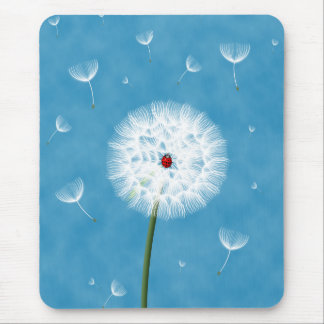 Cute ladybug sitting on top of a dandelion mouse mat