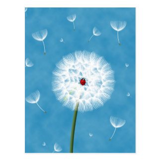 Cute ladybug sitting on top of a dandelion postcard