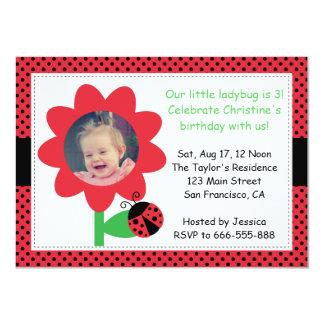 Cute Ladybug turns 3, 3rd birthday, polka dots 11 Cm X 16 Cm Invitation Card