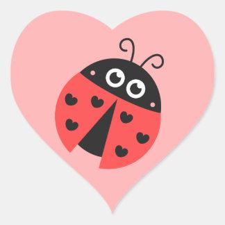 Cute ladybug with black hearts heart sticker