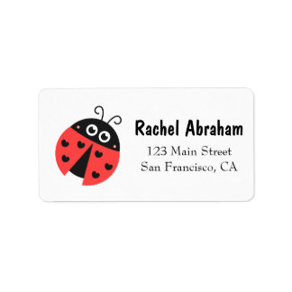 Cute Ladybug with hearts as spots Label