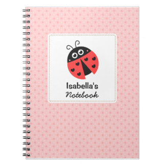 Cute Ladybug with Hearts for Girls Spiral Notebook