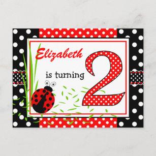 Cute Ladybugs 2nd Birthday Invitation Postcard