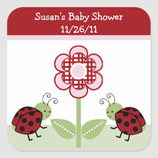 Cute Ladybugs & Flower Stickers/Envelope Seals Square Sticker