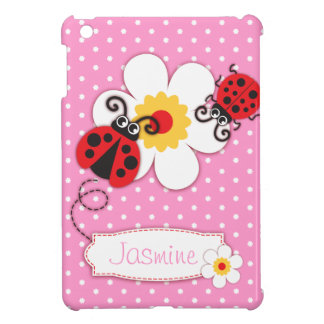 Cute ladybugs girls name red pink ipad mini case